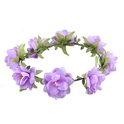 Damen Handwerk Meer Blumen Kranz Haar Crown Kopfbedeckung , Lila