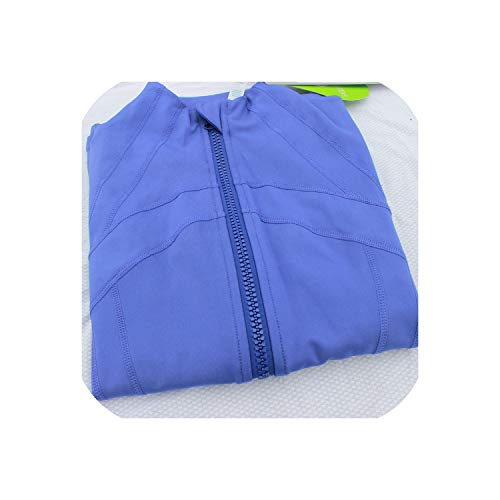 Feing Women's Jacket Donna con Cappuccio Running Giacca Manica Lunga Felpa Sportiva Zip Giacca Fitness Palestra Camicie - Blu - XL