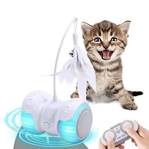 Berein Katzenspielzeug Elektrischer Interaktives Ferngesteuert Intelligenz Katzenball 13 in 1 Automatischer Drehender Roller Ball USB-Aufladung LED-Lichts für Kätzchen Haustiereignung