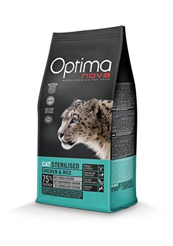 Optimanova Super Premium Sterilised Katzenfutter - Trockenfutter Hähnchen und Reis – 2 kg - hypoallergen - 40% Frischfleisch - Erwachsene Katzen - ab dem 12 Monate - Sterilisiert