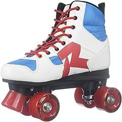 Foot bed. Blue/White Women's ice skate Tubular laces closure PU, 58x32mm/80a wheels PVC sole. Men's anatomic padding ice skate