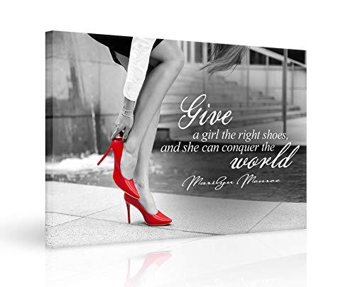 """Kunstdruck auf Leinwand, Motiv \""""Motivation and Success\"""", mit Geschenkband, Marilyn Monroe, inspirierendes Zitat, Holywood, Sterndruck, Schwarz und Weiß mit roten High Heels, fertig zum Aufhängen"""