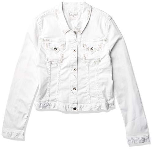 Grace in LA Women's White Stitch Denim Jacket, M