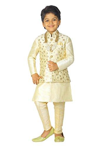 AHHAAAA Kids Indian Ethnic Banarasi Silk Kurta Pyjama and Waistcoat...