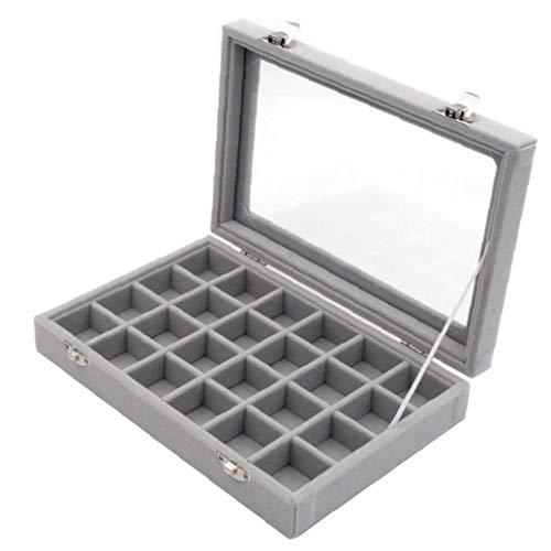 shentaotao Joyería de la Caja de almacenaje Organizador Envase Gris de Doble Hebilla 24 Compartimiento de cuadrícula Pendiente de múltiples Funciones