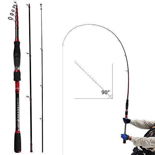 REAWOW Hochseeangelrute Tragbare Carbon-Angelrute Superleichte Faltbare Mini-Angelrute LäNge Optional Versenkbare Angelrute Sichuan Angeln Bootsangeln (3.6)