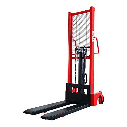 STIER Hydraulik-Stapler mit Einfach-Mast, 1000 kg Traglast, Hubbereich von 85 mm - 1600 mm, Anheben per Fußpedal, geräuschlose Polyurethan-Bereifung