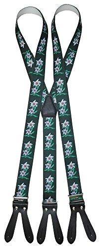 Alpin-Trachten Trachten Hosenträger mit Edelweiss für Knöpfe Rot, Grün, Blau, Schwarz -105 (Grün)
