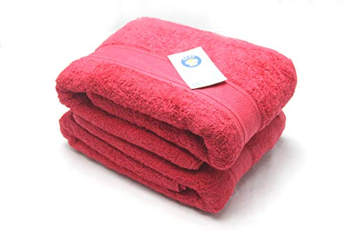 2 Pc Pack Luxuriously Oversize Hotel Bath Sheet- 100% Ring Spun Cotton 36in x 72in -Heavy Weight 975 Grams -Highly Absorbent - Easy Care Machine Wash- Color Red
