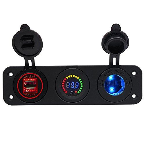 Adaptador de divisores de Cargador de Coche USB, Encendedor de Cigarrillos de zócalo Multi Power Outlet 12V / 24V DC con voltímetro LED Puerto USB para teléfono móvil iPad GPS