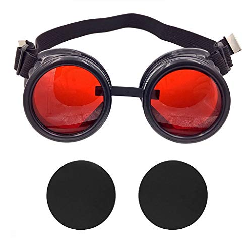 T&B New Colored Diamond Lens Vintage Steampunk Goggles Glasses Welding Cyber Punk Black With Red Rechangeable Lens Halloween Face Mask