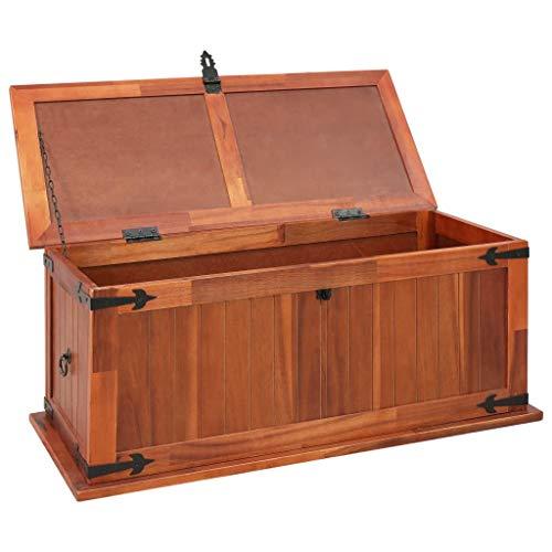 Festnight Aufbewahrungstruhe aus Akazienholz 90 x 45 x 40 cm   Aufbewahrungsbox Holztruhe Auflagenbox Kissenbox Braun - 2