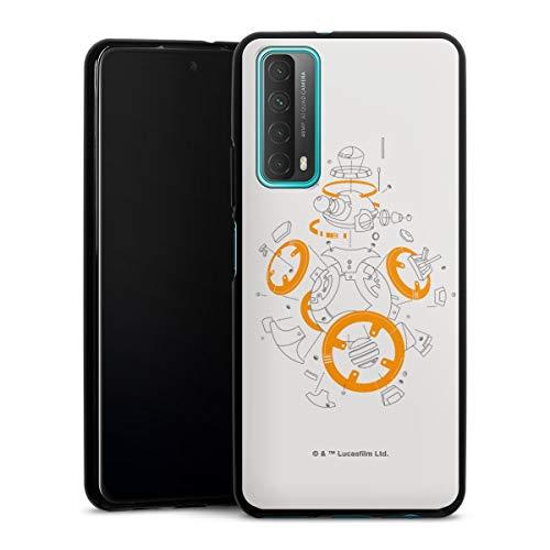 Siliconen Hoesje compatibel met Huawei P Smart 2021 TPU-Case Zwart Telefoonhoesje bb8 Star Wars Robot