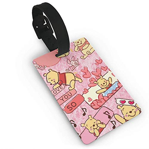 Winnie The Pooh Love You So Much Luggage Tag Adjustable Strap Bag Baggage Name,Accessories Tags for Tourists