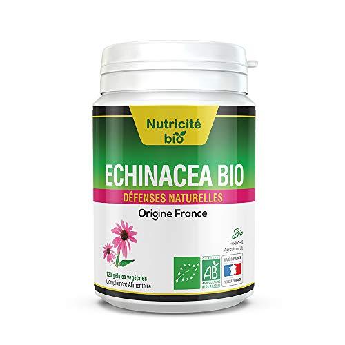 Echinacea Bio 120 capsule vegetali - Nutricite-Bio - Una pianta efficace per trascorrere l'inverno - Pianta naturale 100% biologica per resistere ai piccoli mali dell'inverno e del fresco in primavera