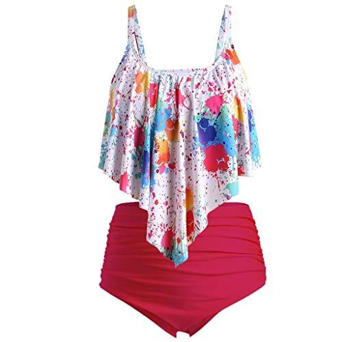 DNOQN Bademode Frauen Hochdrücken Gepolstert Übergröße Überlagerung Krawattengefärbt Drucken Bikini Badeanzug Damen Zweiteilige Badeanzüge Ruffled Top Hoch Tailliert Bottom Bikini Set