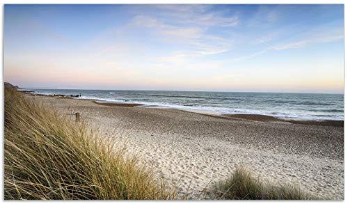 Wallario Herdabdeckplatte/Spritzschutz aus Glas, 1-teilig, 90x52cm, für Ceran- und Induktionsherde, Strandspaziergang im Urlaub an der Ostsee