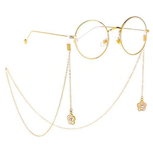 Halskette Ohrringe Schmuck Set Kette Schmuck Brille Kette Strass Pflaume Anhänger Brillenketten Brillenhalter Sonnenbrille Bead Neck Lanyard Chain Cord for Frauen (Farbe: Gold, Größe: 75cm), Größe: 75