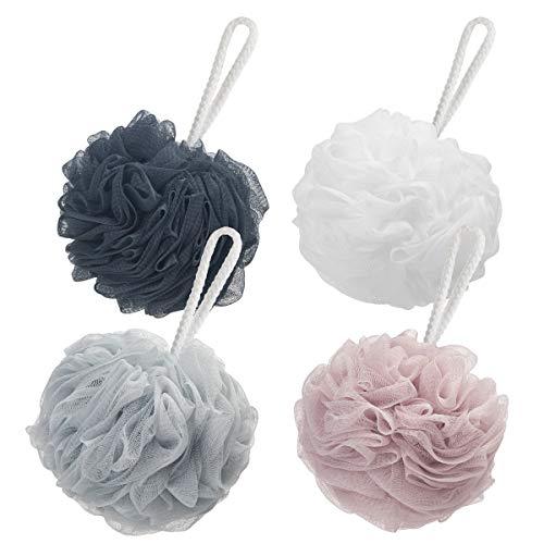 AmazerBath Shower Bath Sponge 60g/PCS Shower Loofahs Balls for Body Wash Men Women Bathroom4 Pack Dark GreyPinkGreyWhite