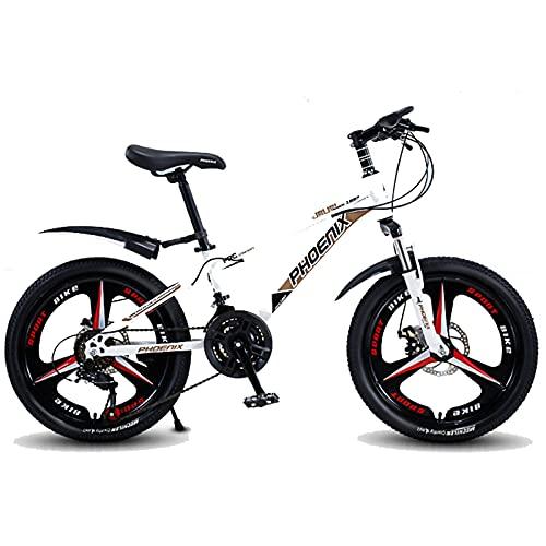Axdwfd Infantiles Bicicletas Bicicleta al Aire Libre para niños, 20 Pulgadas, Bicicleta Marco de Carbono Alto, Durante 9-14 años, 2 Colores (Color : White)