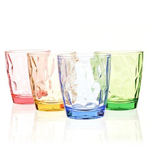 Urmelody, set di 4 bicchieri infrangibili, in plastica acrilica riciclata, trasparenti, impilabili, diversi colori, Plastica, Blue+yellow+green+red, Set of 4