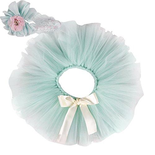 FREE FISHER Baby Mädchen 2er Bekleidungsset (Rock Stirnband), Kostüm für Neugeborenes, Hellgrün, 0-2 Monate (Herstellergröße: S)
