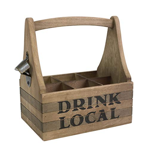 Stonebriar Drink Local Beer Caddy with Handle and Metal Bottle Opener, Large, Brown
