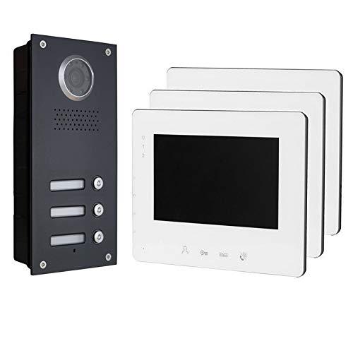 2 Draht Türsprechanlage Gegensprechanlage mit 7'' Monitoren für 3 Familienhaus, 130 Grad Kamera, Farbe: Silber