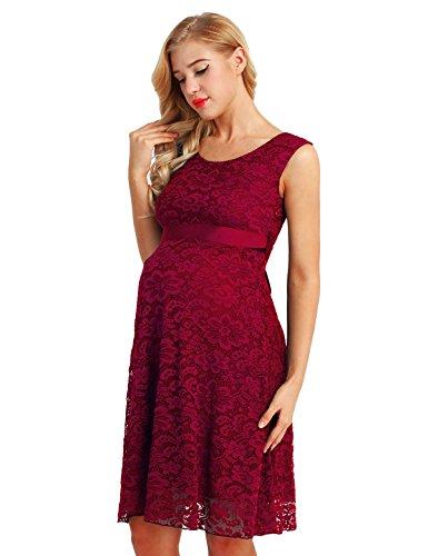 iiniim Damen Umstandskleid Festlich Kleid aus Spitze Ärmellos Mutterschafts Schwangerschaftskleid M -3XL Weinrot L