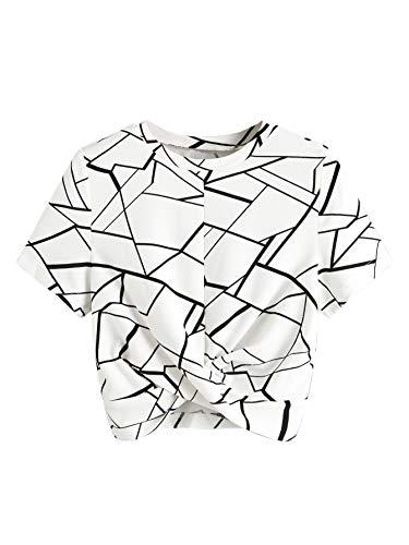 SweatyRocks Women's Casual Twist Front Short Sleeve Crop ...