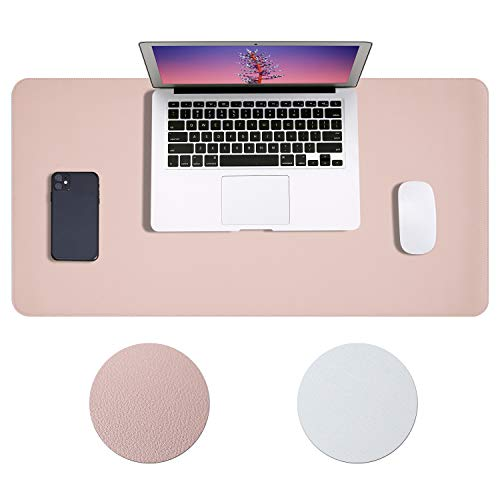 Office Desk Pad, Dual Sided Leather Multifunctional Desk Mat, Waterproof Desk Blotter Protector Mouse Pad, Dual Use Desk Writing Mat for Office/Home (Rose Gold, 31.5 x 15.7 inch)