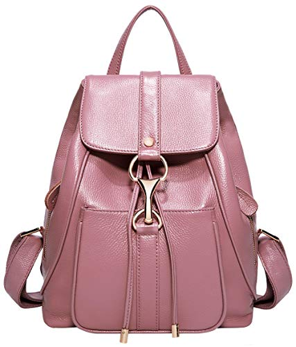 BOYATU Real Leather Backpacks Purse for Women Ladies Fashion Travel Shoulder Bag (Pink)