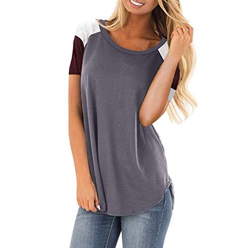 iHENGH Damen Top Bluse Lässig Mode T-Shirt Frühling Sommer Bequem Blusen Frauen Womens Casual Color Block Kurzarmshirts Lose leichte Tunika Bluse(Grau, M)