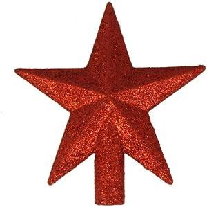 """Kurt Adler 4"""" Petite Treasures Red Glittered Mini Star Christmas Tree Topper - Unlit"""