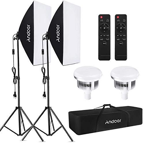 Andoer Softbox Kit, Iluminación Fotográfica Equipo con 85W 2800K-5700K Luz LED de Temperatura de Bicolor, Softbox de 50x70cm, Tripodes Soporte, Control Remoto y Bolsa de Transporte