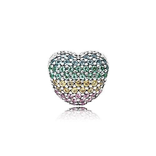 Pandora 925 Colgante de plata esterlina Diy Diy Charm Open My Heart Pavé Clip Beads para hacer joyas Adecuado para pulseras de dijes