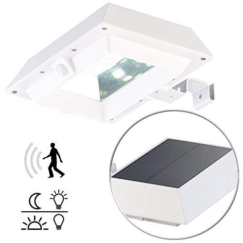 Lunartec Wand-Lampen: 2in1-Solar-LED-Dachrinnen- & Wandleuchte, PIR-Sensor, 300 lm, weiß (außen Sicherheits-Beleuchtung)