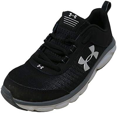 Under Armour Kids' Grade School Assert 8 Sneaker, Black (001)/Pitch Gray, 4