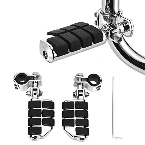 KING SHOWDEN Motorcycle Foot Pegs Foot Rest Highway Footpegs For Road King Street Glide Honda Kawasaki Suzuki Yamaha 25mm 32mm 34mm (Chrome)