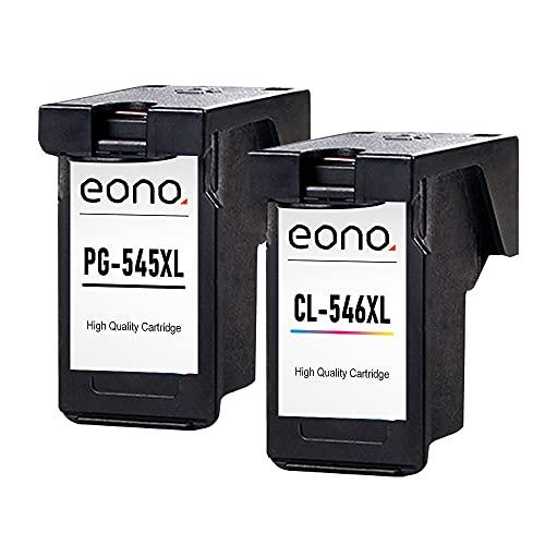 Amazon Brand-Eono Cartuchos de tinta remanufacturados PG-545XL CL-546XL para impresoras Canon Pixma MG2450 2550 2555S 2950 3050 TS3100 3150 205 305 MX495 490 TR4550 4551 iP2850 negro y tricolor pack 2
