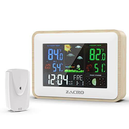 Zacro Wetterstation mit Außensensor mit Einstellbar 7 Sprachen einstellbar,3 Außenkanäle,für Wettervorhersage, Wecker, Temperatur,Digitaler Thermometer