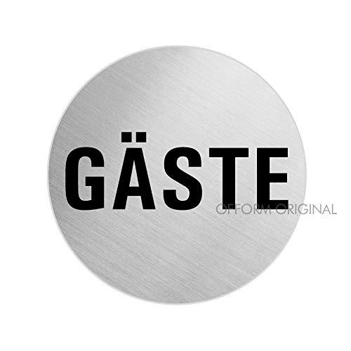 Schild Türschild Gäste | Edelstahlschild selbstklebend Ø 60 mm | Ofform Design | Nr.7076