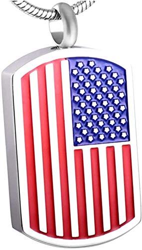 huangshuhua La Bandera Nacional de EE. UU. Colgante Recuerdo Etiqueta de Perro Acero Inoxidable urna Conmemorativa Cenizas Collar joyería