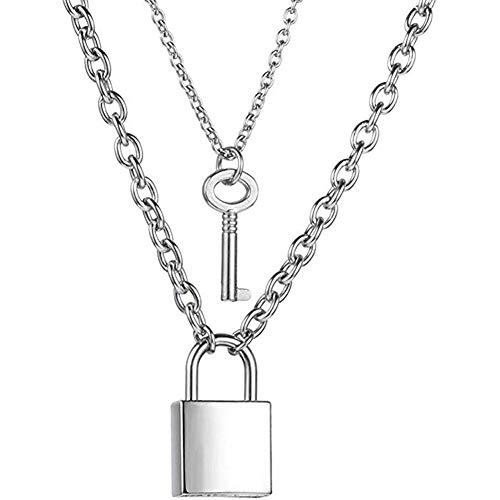 GTYHJUIK halsketting met slot-hanger, lange ketting, meerdere lagen, eenvoudig, met sleutel