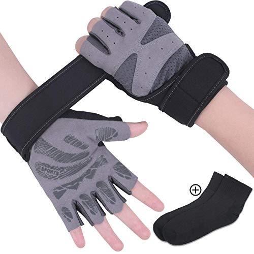 Rongli Trainingshandschuhe Kraftsport, Fitness Handschuhe Anti-Rutsch Gewichtheben Handschuhe für Damen und Herren mit Silikon Polsterun Atmungsaktiv (Grey-M)