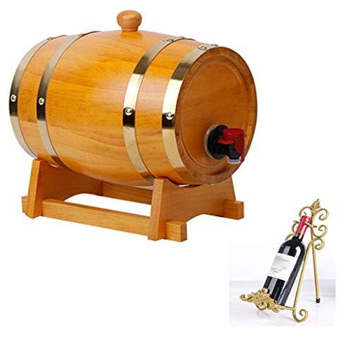 GYPPG Barril Vino Decorativo Horizontal Barril Cerveza Barril Vino Roble Barril Vino 5L, Estante Vino Madera para Barril Whisky para almacenar Cerveza, Whisky, Vino Tinto, Vino Blanco, v