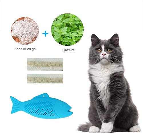 VIKEDI Katze Fisch Form Zahnbürste mit Katzenminze, Haustier Katze Zahnbürste Umweltfreundlich Silikon Zahnreinigung Spielzeug, Katzenminze Spielzeug Simulation Fischform, Fisch Flop Katzenspielzeug
