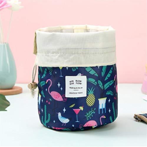 Grande Capacité 1 pcs Femmes cylindre Sac cosmétique Voyage en forme de corde Tirer Organisateur de maquillage Make Sacs Case Up Pouch Wash toilette (Color : Navy Flamingo)