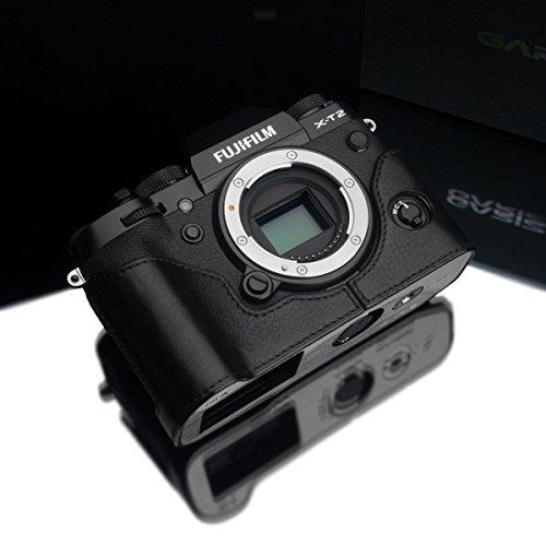 Gariz XS-CHXT2BK Genuine Leather Camera Metal Half Case for Fuji Fujifilm X-T2 XT2 / XT3, Black