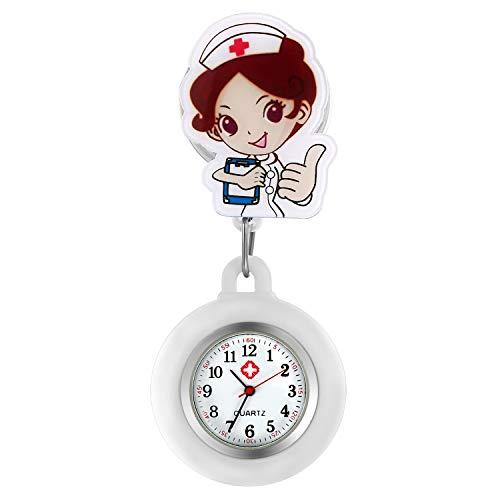AVANER Relojes retráctiles de enfermera, con clip para colgar relojes, con diseño de dibujos animados y solapa, para enfermeras, doctores, con cubierta de silicona